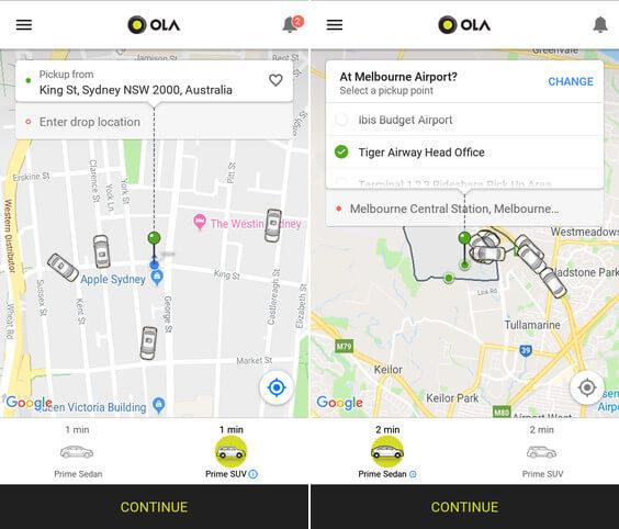 Ola Cabs in Australia