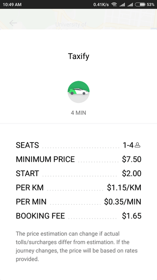 taxify rideshare cost