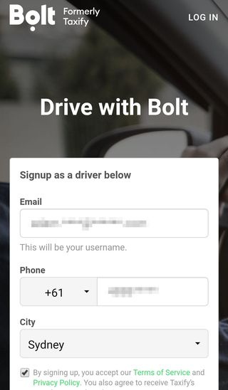 bolt registration page syd nsw