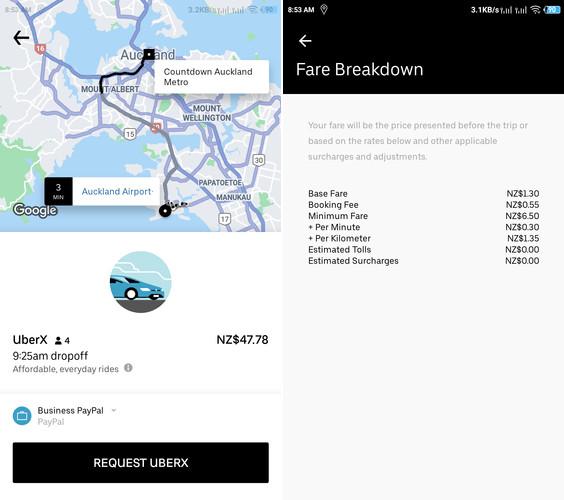 Uber Cost NZ