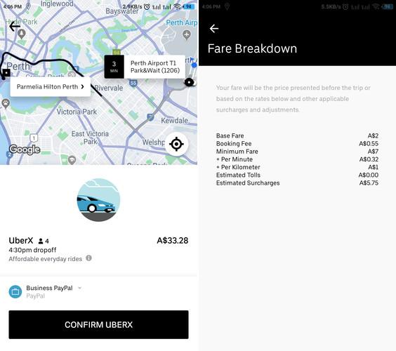 Uber Perth Fares