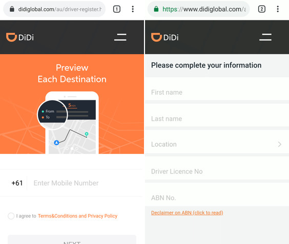 didi registration web brisbane