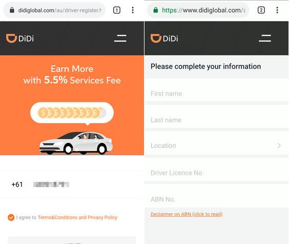 didi driver requirement page
