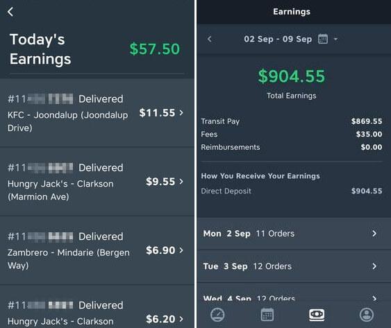 menulog driver earning
