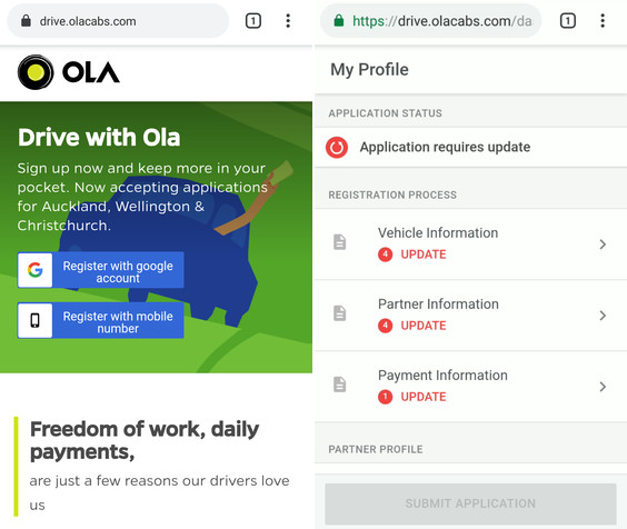 ola driver registration requirements