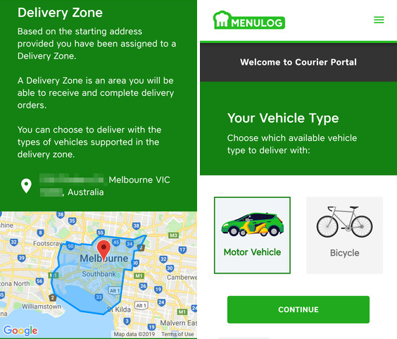 menulog delivery zone an vehicle options