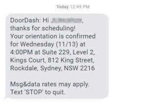 Dasher Orientation Confirmation