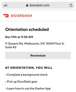 DoorDash Orientation Confirmed