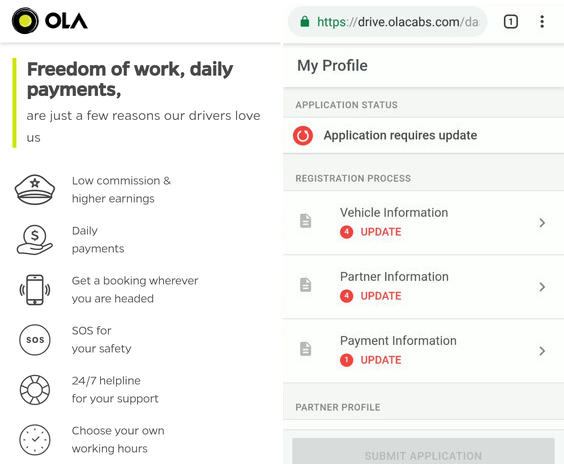 Ola perth requirements online