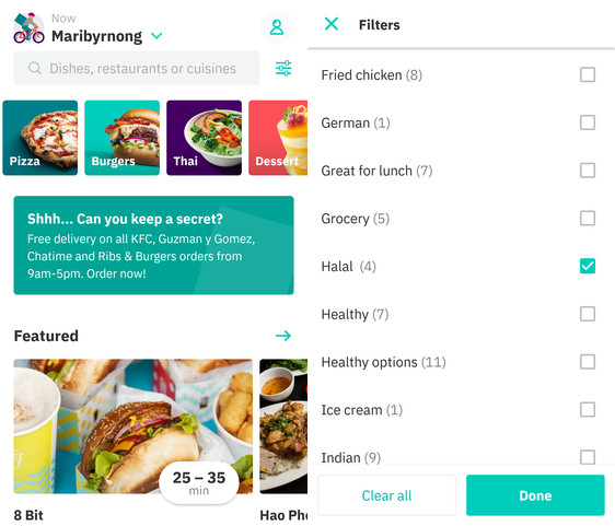 deliveroo halal food