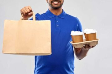 delivery courier blue shirt