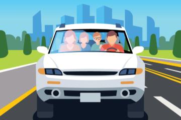 rideshare driver with passengers