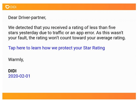 didi driver rating change