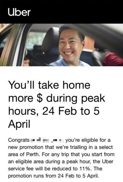 uber perth driver promotion